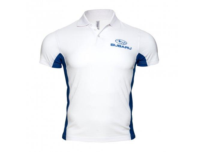 Polo tričko bílé s logem Subaru